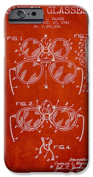 Glass Wall Digital iPhone Cases - Safety Glasses Patent from 1942 - Red iPhone Case by Aged Pixel