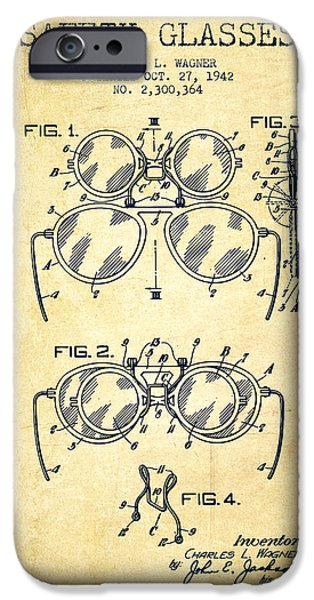 Glass Wall Digital iPhone Cases - Safety Glasses Patent from 1942 - Vintage iPhone Case by Aged Pixel