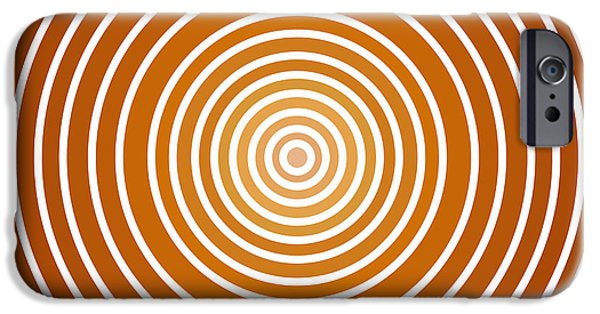 Buddhist Paintings iPhone Cases - Saffron Colored Abstract Circles iPhone Case by Frank Tschakert