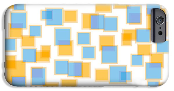 """geometric Abstract"" iPhone Cases - Saffron Yellow And Azure Blue iPhone Case by Frank Tschakert"