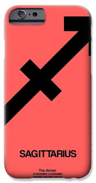 Sign iPhone Cases - Sagittarius Zodiac Sign Black iPhone Case by Naxart Studio