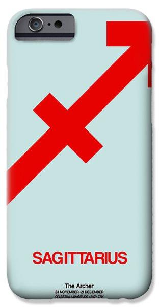 Sign iPhone Cases - Sagittarius Zodiac Sign Red iPhone Case by Naxart Studio