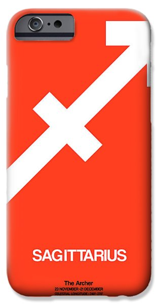 Aquarius iPhone Cases - Sagittarius Zodiac Sign White on Orange iPhone Case by Naxart Studio