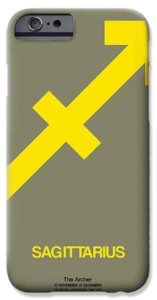 Sign iPhone Cases - Sagittarius Zodiac Sign Yellow iPhone Case by Naxart Studio