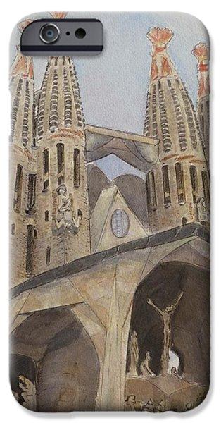 Barcelona Paintings iPhone Cases - Sagrada Familia Barcelona iPhone Case by Henrieta Maneva
