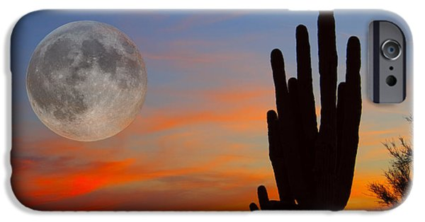 Fine Art Photo iPhone Cases - Saguaro Full Moon Sunset iPhone Case by James BO  Insogna