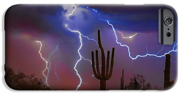 Arizona iPhone Cases - Saguaro Lightning Nature Fine Art Photograph iPhone Case by James BO  Insogna