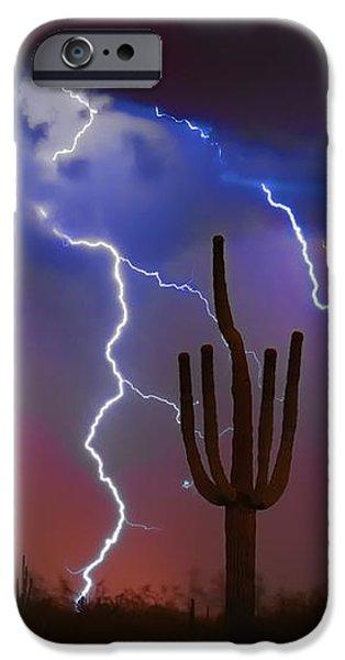 Saguaro Lightning Nature Fine Art Photograph iPhone Case by James BO  Insogna
