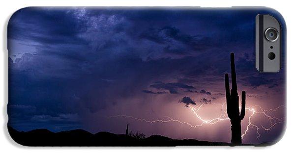 Natural Forces iPhone Cases - Saguaro Lightning  iPhone Case by Saija  Lehtonen