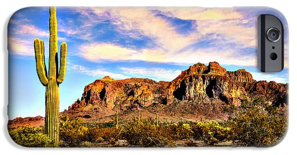 Rust iPhone Cases - Saguaro Superstition Mountains Arizona iPhone Case by  Bob and Nadine Johnston