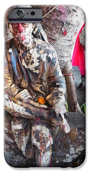 Sai Baba - Resting at Pushkar iPhone Case by Agnieszka Ledwon