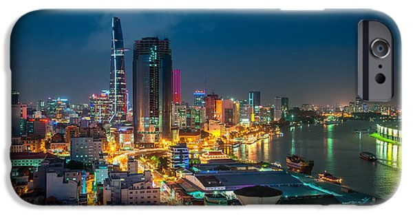Recently Sold -  - Built Structure iPhone Cases - Saigon Aerial Night Skyline iPhone Case by Fototrav Print
