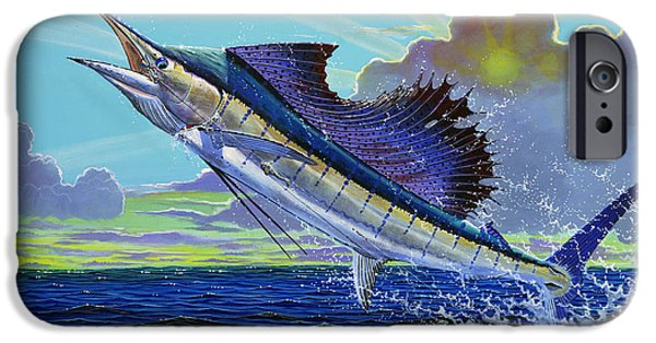 Sailfish iPhone Cases - Sail away Off0014 iPhone Case by Carey Chen