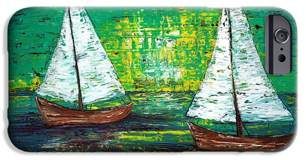 Sailboat Ocean Mixed Media iPhone Cases - Sail Away With Me iPhone Case by Laura Barbosa