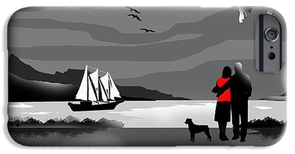 Black Dog iPhone Cases - Sail Away With Me To Another World iPhone Case by Peter Stevenson