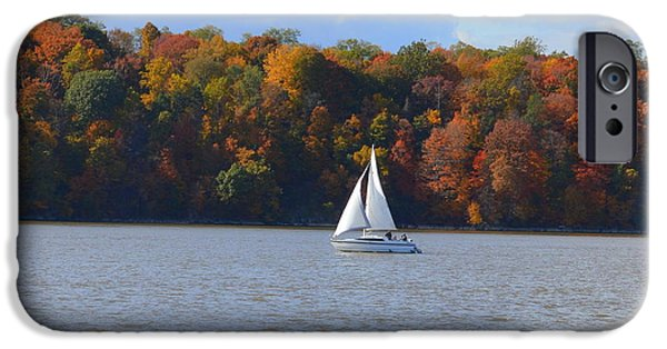 Hudson River iPhone Cases - Sail boat on Hudson River iPhone Case by Linda Covino