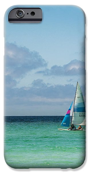 Sailboat Ocean iPhone Cases - Sail Boat on the Ocean iPhone Case by Shelby  Young