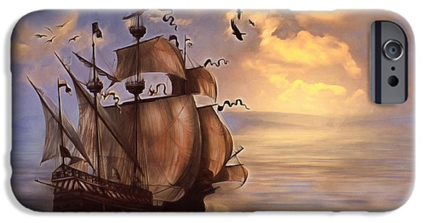 Tall Ship Mixed Media iPhone Cases - Sail Into My Dreams Vintage iPhone Case by Georgiana Romanovna