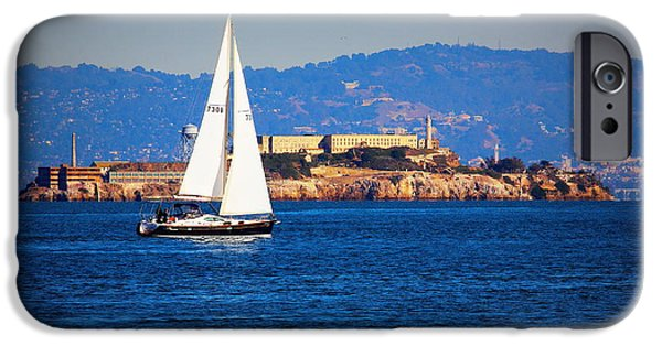 Alcatraz iPhone Cases - Sail Past Alcatraz iPhone Case by Garrett Nyland