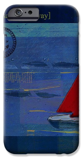Blue Sailboats iPhone Cases - Sail Sail Sail Away - j173131140v02 iPhone Case by Variance Collections