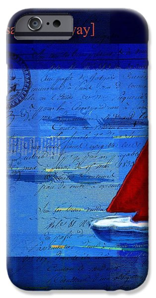Blue Sailboats iPhone Cases - Sail Sail Sail Away - j173131140v5c2 iPhone Case by Variance Collections