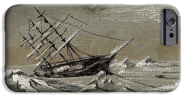 Arctic iPhone Cases - Sail ship arctic iPhone Case by Juan  Bosco