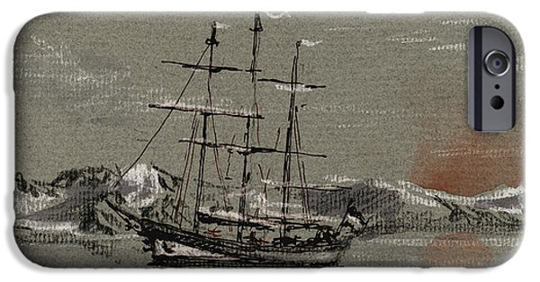 Arctic iPhone Cases - Sail ship at the arctic iPhone Case by Juan  Bosco