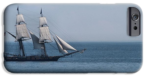 Brig iPhone Cases - Sail Ship On The Straits Of Mackinac iPhone Case by Dan Sproul