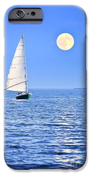 Sailboat at full moon iPhone Case by Elena Elisseeva