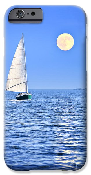 Sail Boat iPhone Cases - Sailboat at full moon iPhone Case by Elena Elisseeva