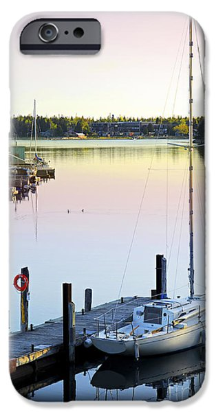 Docked Boat iPhone Cases - Sailboat at sunrise iPhone Case by Elena Elisseeva