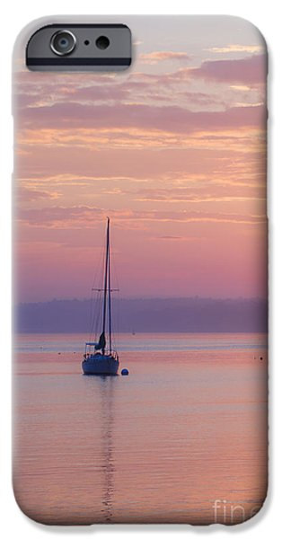 Sailboat Photographs iPhone Cases - Sailboat at Sunrise in Casco Bay Maine iPhone Case by Diane Diederich
