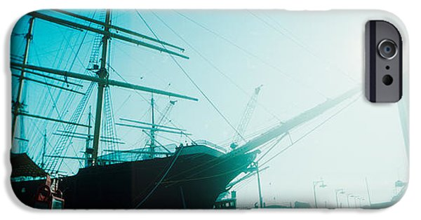 Sailboat iPhone Cases - Sailboat At The Port, South Street iPhone Case by Panoramic Images