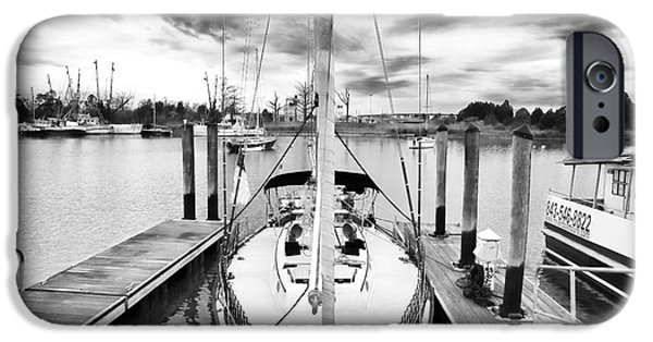 Sailboats Docked iPhone Cases - Sailboat Docked iPhone Case by John Rizzuto