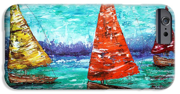Sailboat Ocean Mixed Media iPhone Cases - Sailboat Dreams iPhone Case by Laura Barbosa