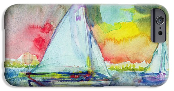 Sailing iPhone Cases - Sailboat Evening Wc On Paper iPhone Case by Brenda Brin Booker