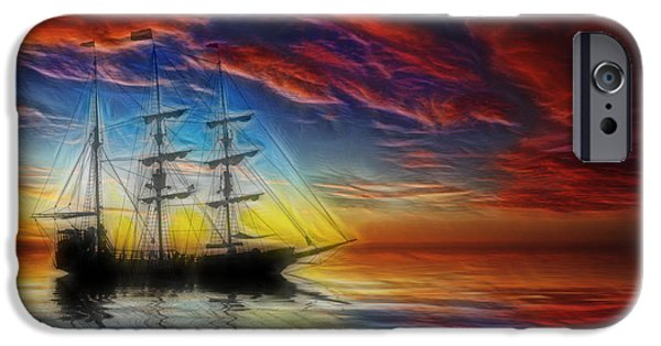 Sailboat Ocean Mixed Media iPhone Cases - Sailboat Fractal iPhone Case by Shane Bechler