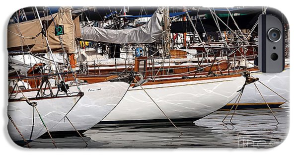 Docked Sailboat iPhone Cases - Sailboat Hulls in the Port iPhone Case by John Rizzuto