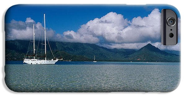 Sailboat iPhone Cases - Sailboat In A Bay, Kaneohe Bay, Oahu iPhone Case by Panoramic Images