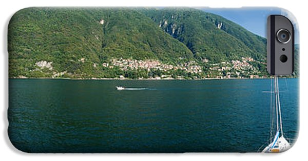 Sailboat iPhone Cases - Sailboat In A Lake, Lake Como, Como iPhone Case by Panoramic Images