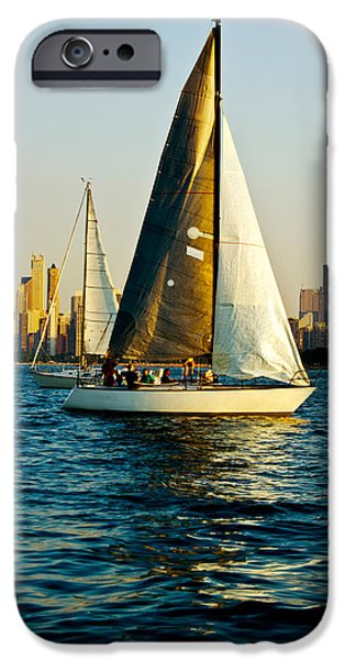 Sears Tower iPhone Cases - Sailboat In A Lake, Lake Michigan iPhone Case by Panoramic Images