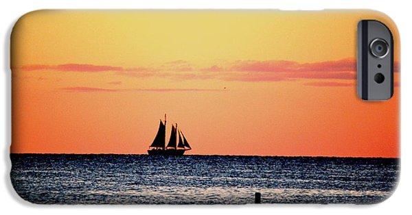 Boat iPhone Cases - Sailboat in Silhouette iPhone Case by Karen  Majkrzak