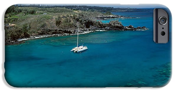 Sailboat iPhone Cases - Sailboat In The Bay, Honolua Bay, Maui iPhone Case by Panoramic Images