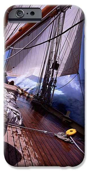 Pursuit iPhone Cases - Sailboat In The Sea, Antigua, Antigua iPhone Case by Panoramic Images