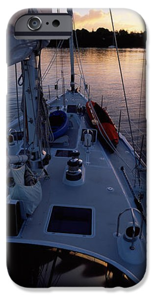 Sailboats iPhone Cases - Sailboat In The Sea, Kingdom iPhone Case by Panoramic Images