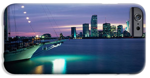Sailboats iPhone Cases - Sailboat In The Sea, Miami, Miami-dade iPhone Case by Panoramic Images