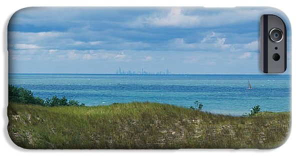 Park Scene iPhone Cases - Sailboat In Water, Indiana Dunes State iPhone Case by Panoramic Images
