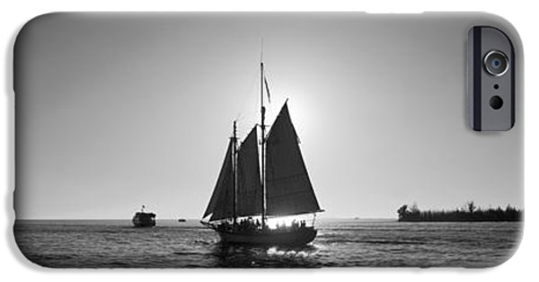 Sailboat Ocean iPhone Cases - Sailboat, Key West, Florida, Usa iPhone Case by Panoramic Images