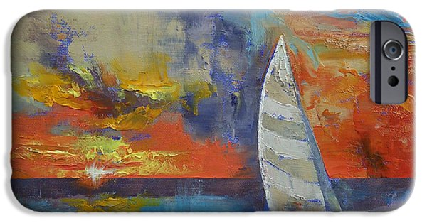 Sailboat Paintings iPhone Cases - Sailboat iPhone Case by Michael Creese