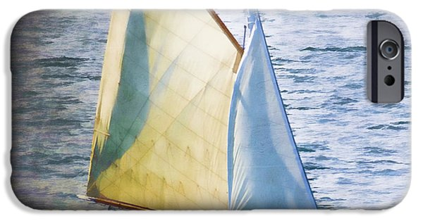Down East iPhone Cases - Sailboat Off Marthas Vineyard Massachusetts iPhone Case by Carol Leigh